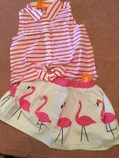 NWT Gymboree Fruit Punch Striped Sleeveless Blouse & Flamingo Skirt Set 5 or 6