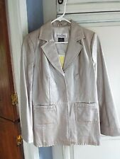Bradley Leather Jacket - Snap Front - Frosted Taupe Color- QVC - Size XS - NWT