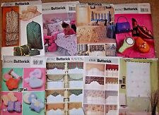 BUTTERICK SEWING PATTERNS ~ HOME DEC, NOVELTY PILLOWS, ACCESSORIES, MORE ~ UNCUT