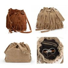 Brown/Beige Celebrity Fringe Tassel Shoulder Messenger Bag Vogue Handbag Hot