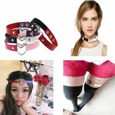 Fashion Funky Punk Goth Ring Heart Collar Choker Leather Necklace