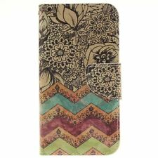 Wave flower PU Leather Flip Stand Card Slot Folio Wallet Case Cover for Phones