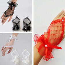 Short Evening Gloves Lace Wrist Wedding Dress Fashion Bridal Bow Fingerless
