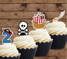 pirate edible cupcake toppers 1st  2nd 3rd 4th 5th 6th 7th 8th 9th birthday boy