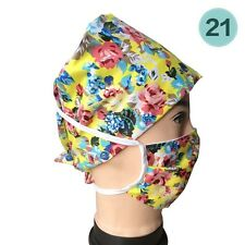 Floral Printed Scrub Cap Cotton Adjustable Medical Surgical Surgery Hat+Mask New
