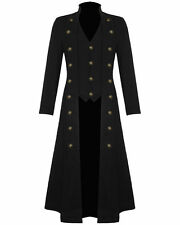 Mens Steampunk Military Gothic Trench Black Long Jacket VTG Halloween All Sizes