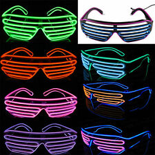 Flashing LED Light Up Slotted Shutter Shades Sunglasses Glow Party Glasses NEW