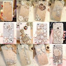Luxury 3D Handmade Jewelled Pearl Crystals Diamond Case Cover For Apple iPhone