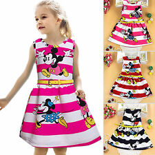 Summer Kids Baby Girls Mickey Mouse Princess Party Stripe Skater Mini Dress 2-7Y