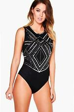 NEW Boohoo Womens Holly Boutique Mixed Sequin Bodysuit in Polyester