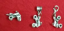 ANTIQUE SILVER FOUR WHEELER 3D CHARM - LOT OF 10 - BRACELET- LOBSTER CLASP  BAIL