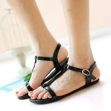 Ladies Womens Casual Slingbacks Beach Faux Leather Sandal T-Strap Flat Shoes New