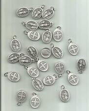 LOT OF 25 PEWTER ST BENEDICT RELIGIOUS MEDALS PENDANTS CHARMS