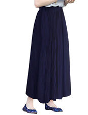 US Stock Women's Stretch Elastic High Waist Pleated Flared Skirt Long Maxi Dress