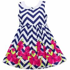 New Girls Dress Stripe Flower Print Party Birthday Casual Children Clothes 2-6T