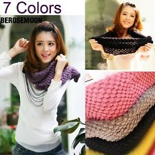 Corn Knited Hood Neck Circle Cowl Wool Girls Scarf Shawl Wrap Loop Warm New B0N