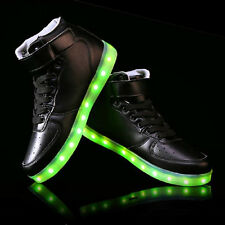 UK LED Light Lace up Shoes Sneakers Luminous Trainer Black Mens Womens High Top