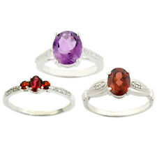 3 ring Combo set red garnet Amethyst & Red garnet 925 Sterling Silver