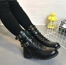 Hot Womens Military Combat Motorcycle Buckle Lace Up Biker Mid Calf Boots Black