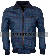 Designers Mens Square Embroidered Blue Casual Synthetic Leather Jacket
