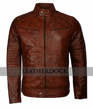 Mens Brown Waxed Vintage Casual Biker Stylish Motorcycle Riders Leather Jacket
