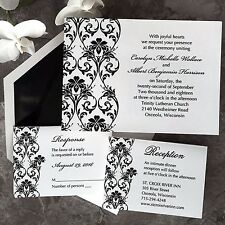 Set of 50 Wedding Invitations with RSVP & Reception Cards Lavish Border AV1855