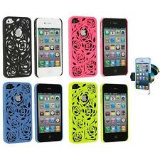 For iPhone 4 4G 4S Lovely Carving Rose Flower Hard Case Cover+Windshield Mount