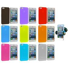 For iPhone 5 5S 0.3mm Frost Super Ultra Thin Hard Case Cover+Windshield Mount
