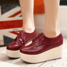 Gothic Womens Platform Wedge Heel Creeper Shoes Punk Lace UP Shake Shoes Oxfords