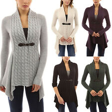 Women's Long Sleeve Knitted Cardigan Casual Sweater Tops Irregural Coat Knitwear