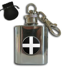 CORNWALL COUNTY FLAG STAINLESS STEEL 1oz HIP FLASK KEYRING