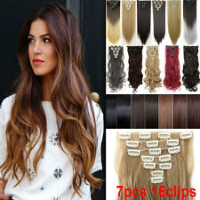 Premium Long Clip in Hair Extensions Extentions Full Head 8 pieces 18 Clips US