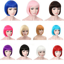 Women Sexy Full Bangs Wig Short Wig Straight BOB Hair TV Cosplay Party Colorful