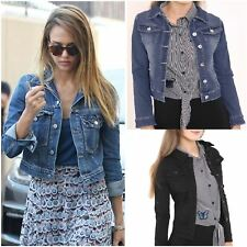 New Womens Ladies Long Sleeve Denim Jacket Cropped Jean Vintage Outerwear