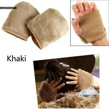 New Women Warm Faux Fur Fingerless Gloves Wrist Hand Warmer Mittens Mitt B0N
