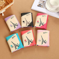 Women Faux Leather Eiffel Tower Card Holder Trifold Zipper Button Wallet Exotic