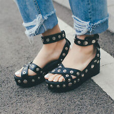 Womens Rivets Leather Strappy Roman Gladiator Sandals Platform Wedges Chic Shoes
