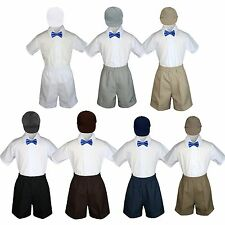 4pc Boy Toddler Formal Royal Blue Bow tie White Black Shorts with Hat sz S-4T
