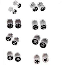 Round Multi Pattern Barbell 361L Stainless Men's Earring Punk Gothic Ear Studs