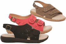 Womens Real Leather Lined Sandals Wide Fit Sling Back Touch Fasten Shoe
