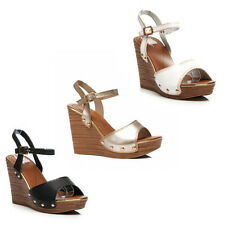WOMENS LADIES PLATFORM WEDGE HEEL CUT OUT ANKLE STRAP SANDALS SHOES SIZE 3-8