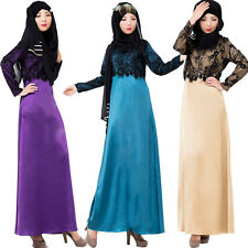 Muslim Women Lace Kaftan Abaya Jilbab Long Sleeve Vintage Maxi Dress Arab Clothe