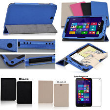"""PU Leather Case Folio Cover For 8"""" HP Stream 8 Tablet  Win 8.1 + Screen Film"""