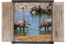 Wall Sticker Window 3D Decal Vinyl Wild Animals Oryx Safari Jungle room decor ho