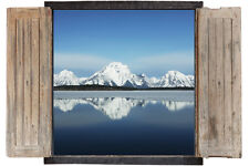 Wall Sticker Window 3D Decal Vinyl Mountains Snow Lake room decor home art