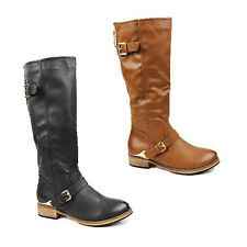 WOMENS LADIES LOW BLOCK HEEL BUCKLE FASHION KNEE HIGH BOOTS SHOES SIZE 3-8