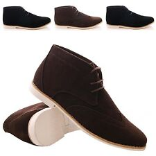 MENS BROGUE DESERT SHOES LACE UP ANKLE BOOTS FLAT CASUAL FORMAL FAUX SUEDE SIZE