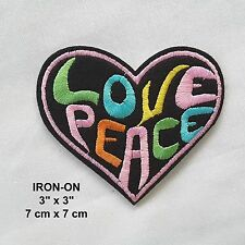 LOVE PEACE Heart Pink Black Embroidery Iron-on Emblem Badge Patch Applique