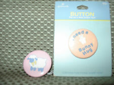 """Hallmark Easter button/pins """"I Need a Bunny Hug"""" pin the other a lamb"""