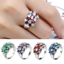 Fashion Women Multi Color Rhinestone Ring Jewelry Flower Zircon Resin Design New